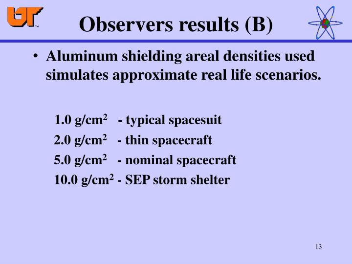 Observers results (B)