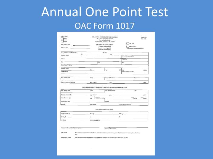 Annual One Point Test