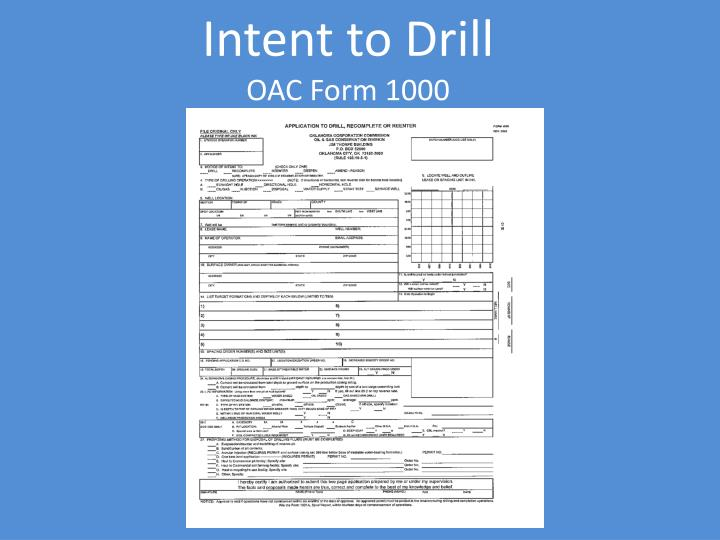 Intent to Drill
