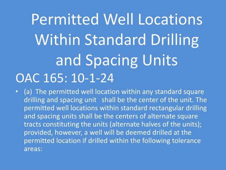 Permitted Well Locations Within Standard Drilling and Spacing Units