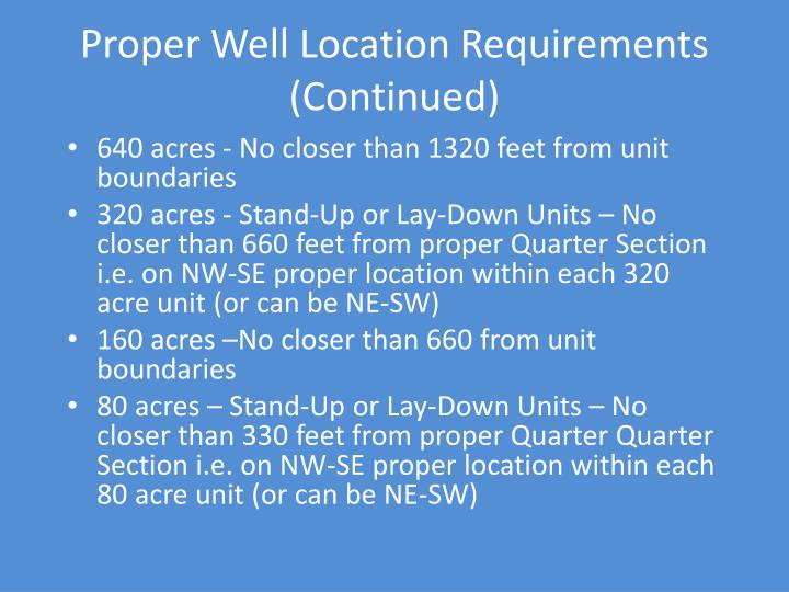 Proper Well Location Requirements