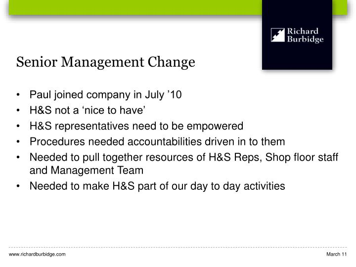 Senior Management Change