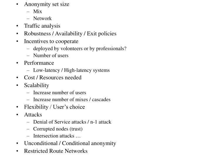 Anonymity set size