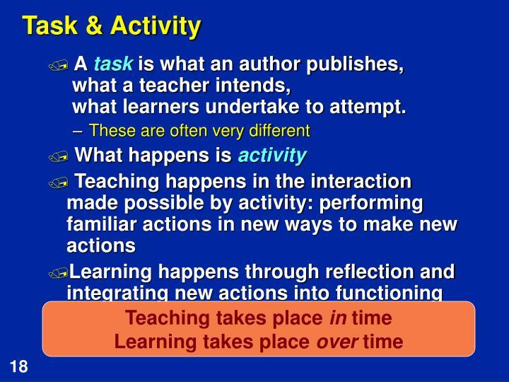 Task & Activity
