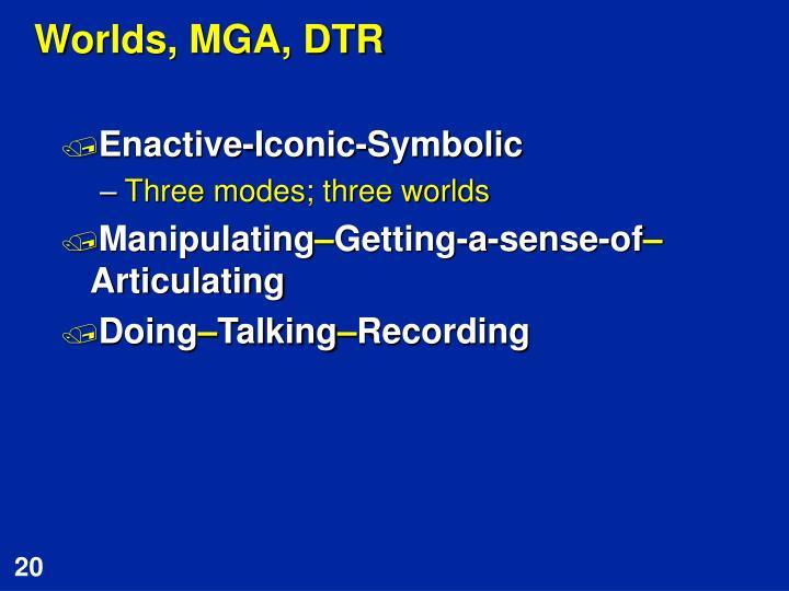 Worlds, MGA, DTR