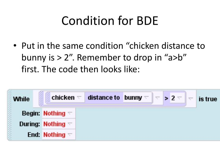 Condition for BDE