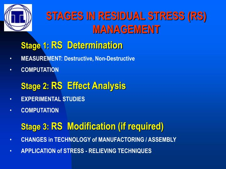 STAGES IN RESIDUAL STRESS (RS) MANAGEMENT