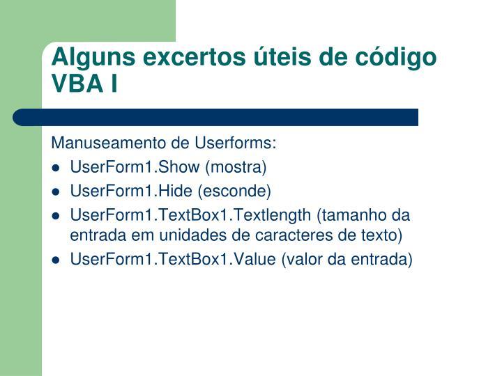 Alguns excertos úteis de código VBA I