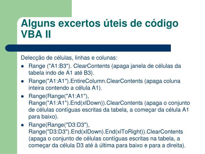 Alguns excertos úteis de código VBA II
