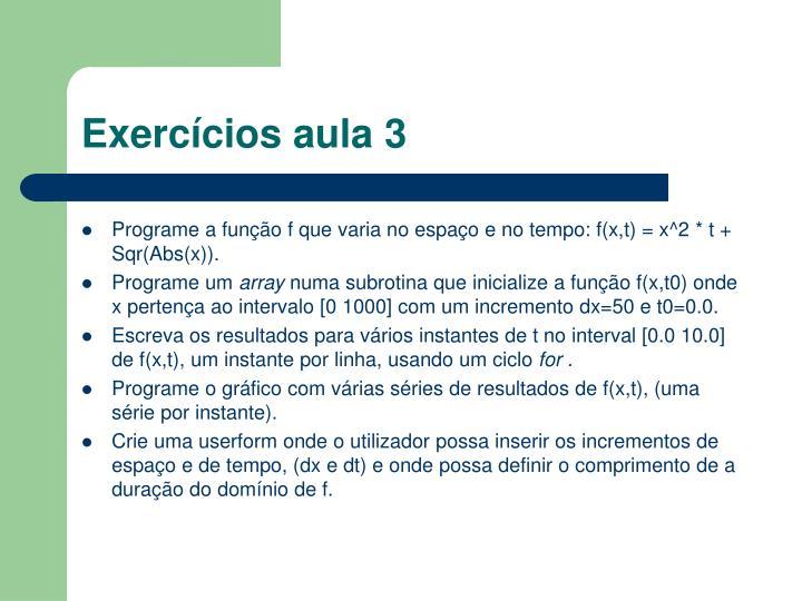 Exercícios aula 3