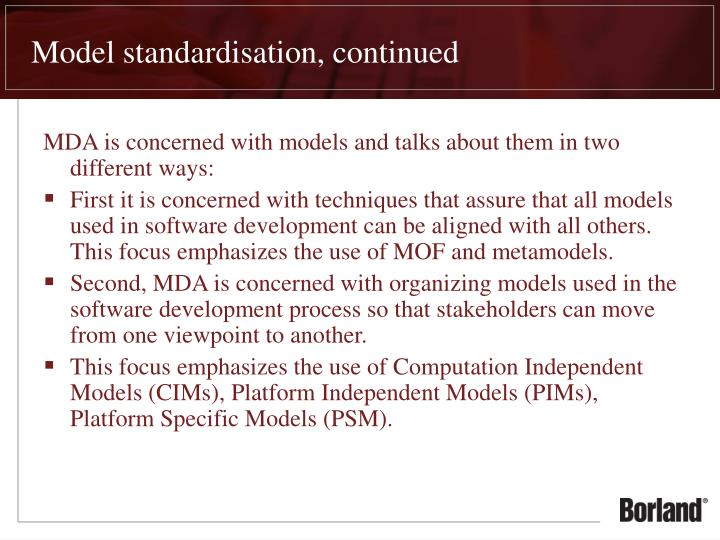 Model standardisation, continued