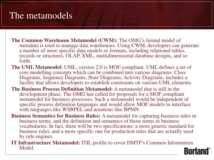 The metamodels