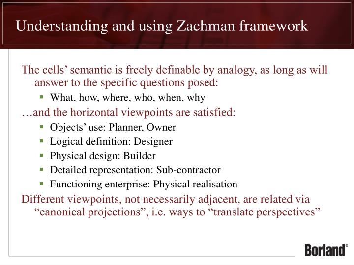 Understanding and using Zachman framework