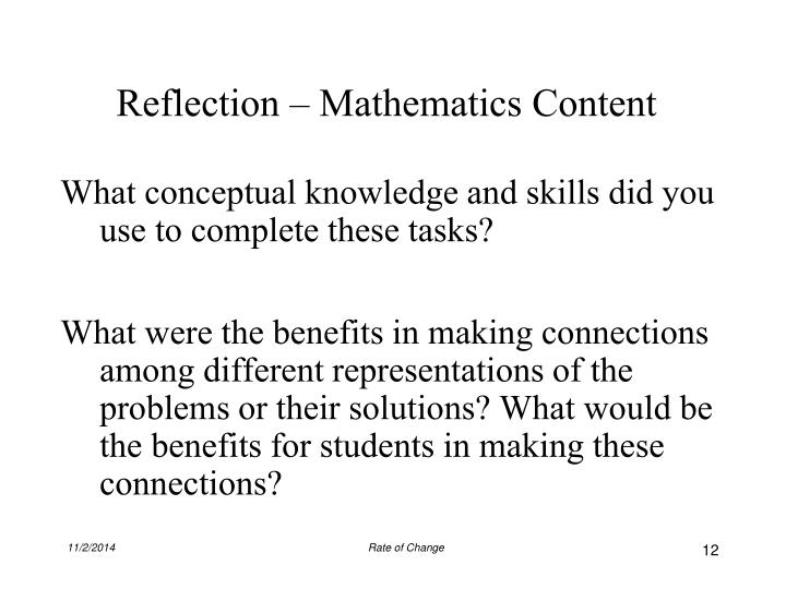 Reflection – Mathematics Content