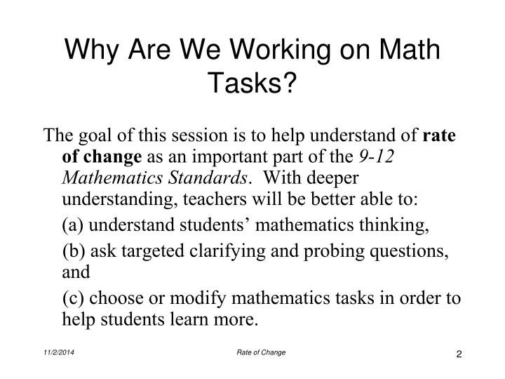 Why Are We Working on Math Tasks?