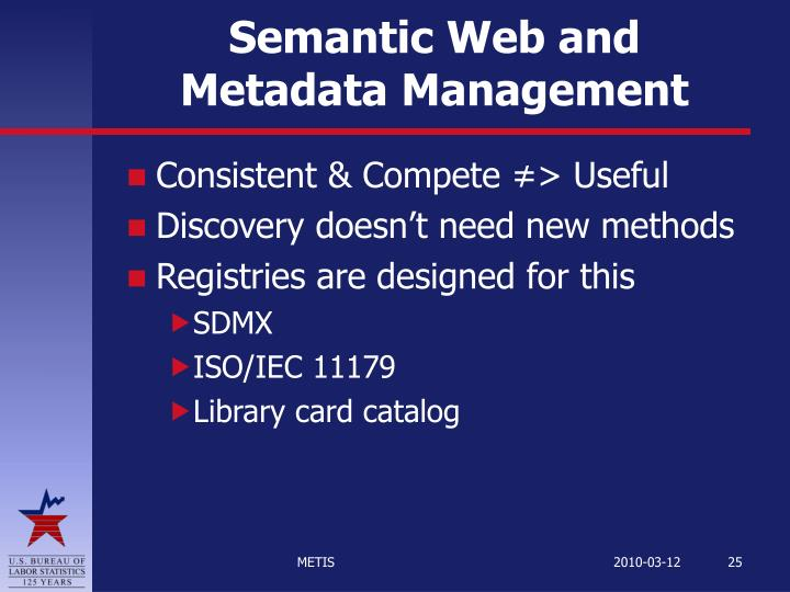 Semantic Web and Metadata Management