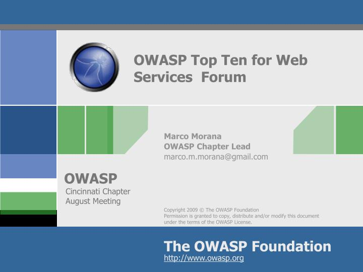 Owasp top ten for web services forum