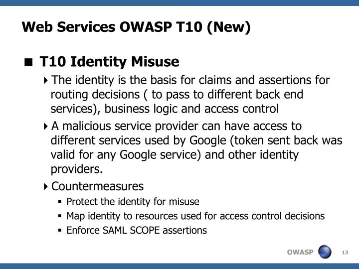 Web Services OWASP T10 (New)