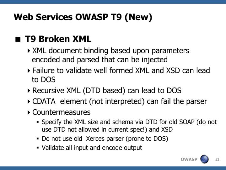 Web Services OWASP T9 (New)