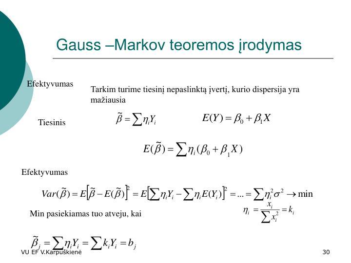 Gauss –Markov teoremos įrodymas