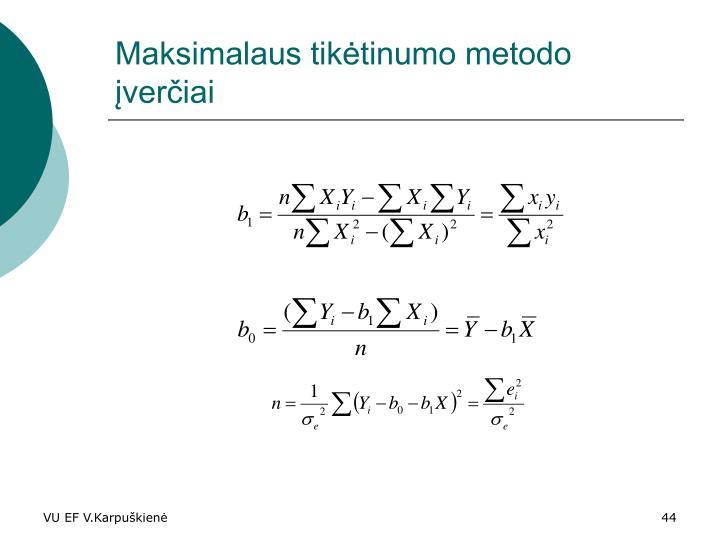 Maksimalaus tikėtinumo metodo įverčiai