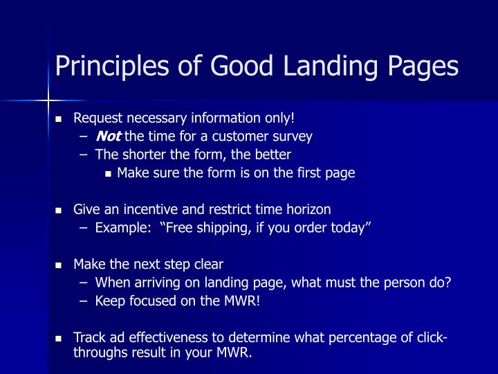 Principles of Good Landing Pages