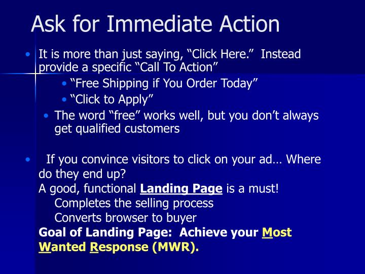 Ask for Immediate Action