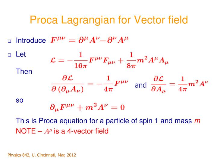 Proca Lagrangian for Vector field