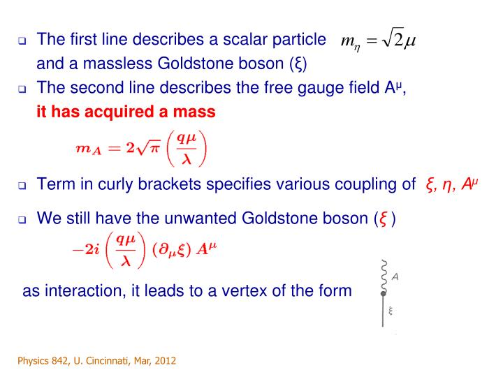 The first line describes a scalar particle