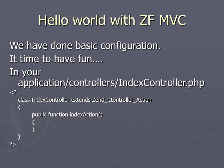 Hello world with ZF MVC