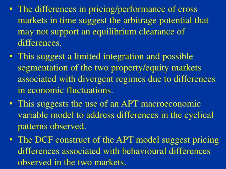 The differences in pricing/performance of cross markets in time suggest the arbitrage potential that may not support an equilibrium clearance of differences.