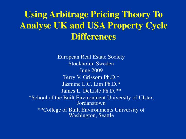 Using arbitrage pricing theory to analyse uk and usa property cycle differences