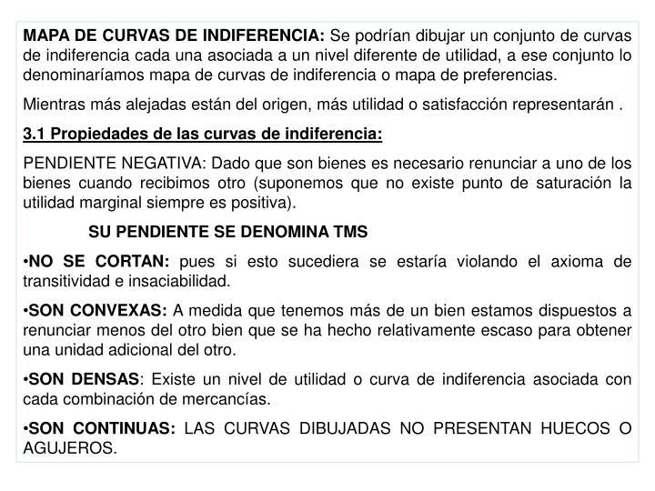 MAPA DE CURVAS DE INDIFERENCIA: