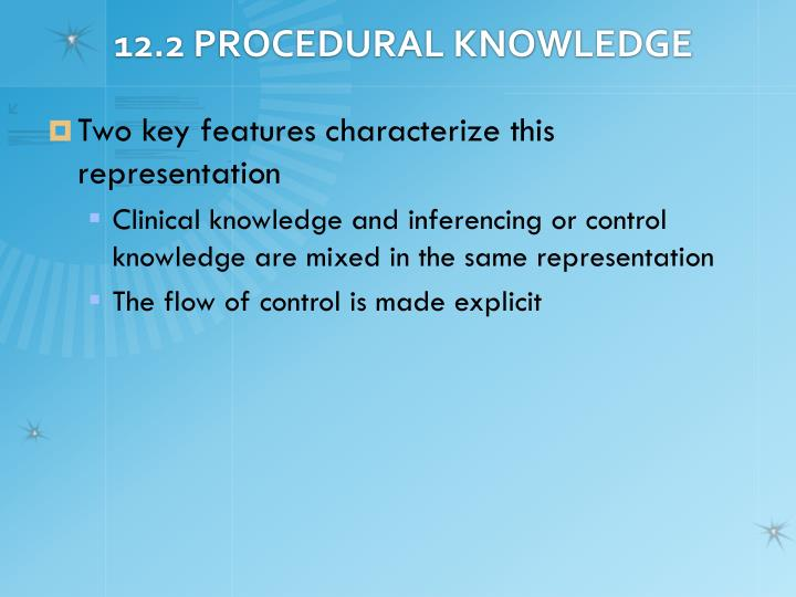 12.2 PROCEDURAL KNOWLEDGE