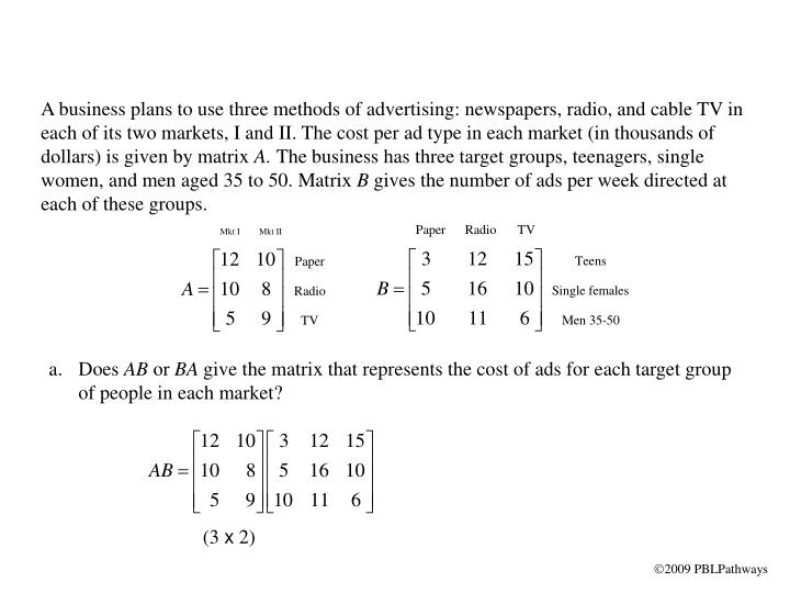 A business plans to use three methods of advertising: newspapers, radio, and cable TV in each of its two markets, I and II. The cost per ad type in each market (in thousands of dollars) is given by matrix