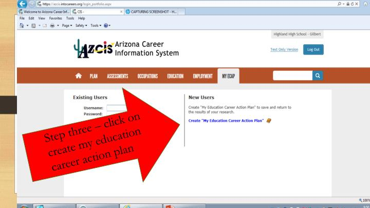 Step three – click on create my education career action plan