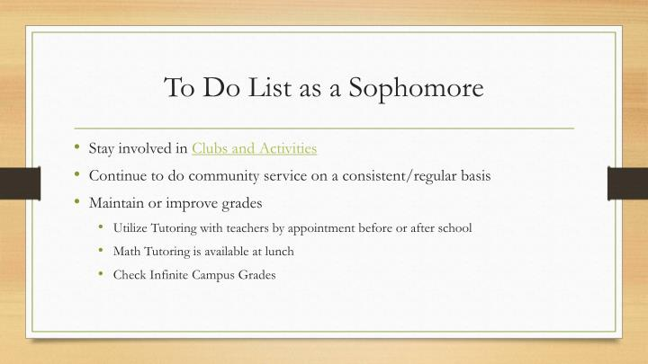 To Do List as a Sophomore