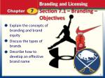 section 7 1 branding objectives