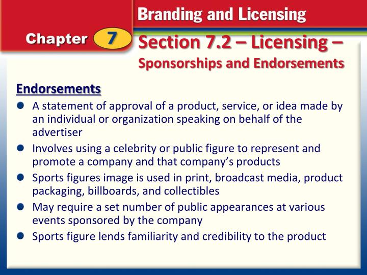 Section 7.2 – Licensing –