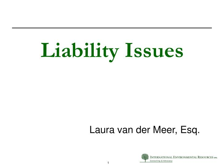 Liability issues