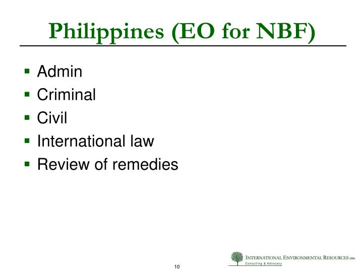 Philippines (EO for NBF)