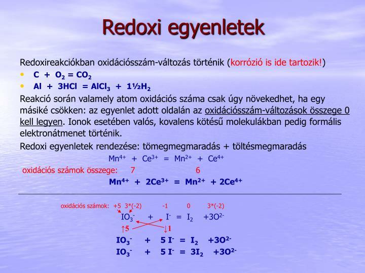 Redoxi egyenletek