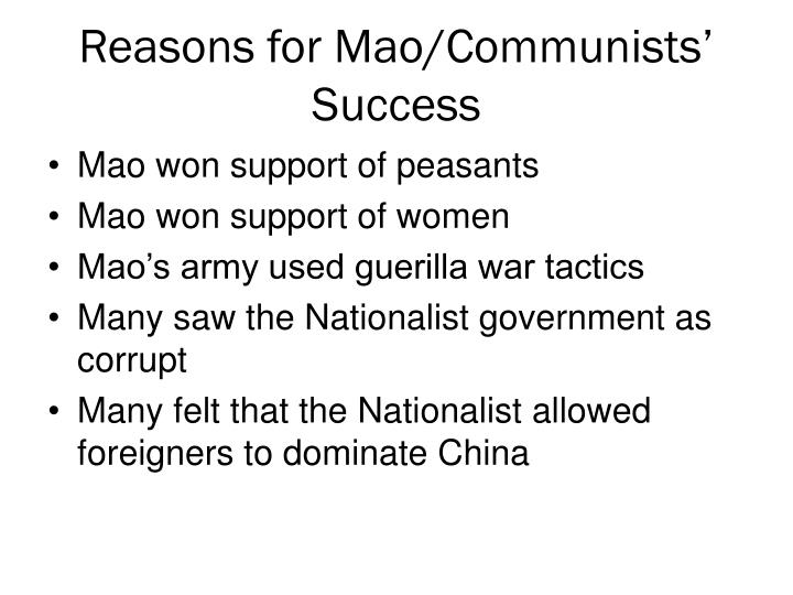 Reasons for Mao/Communists' Success