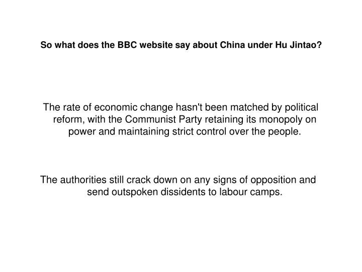 So what does the BBC website say about China under Hu Jintao?