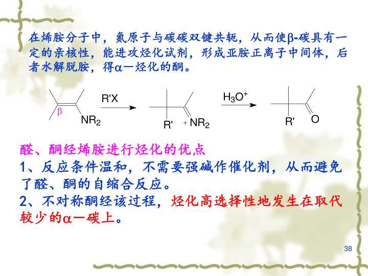 在烯胺分子中,氮原子与碳碳双键共轭,从而使