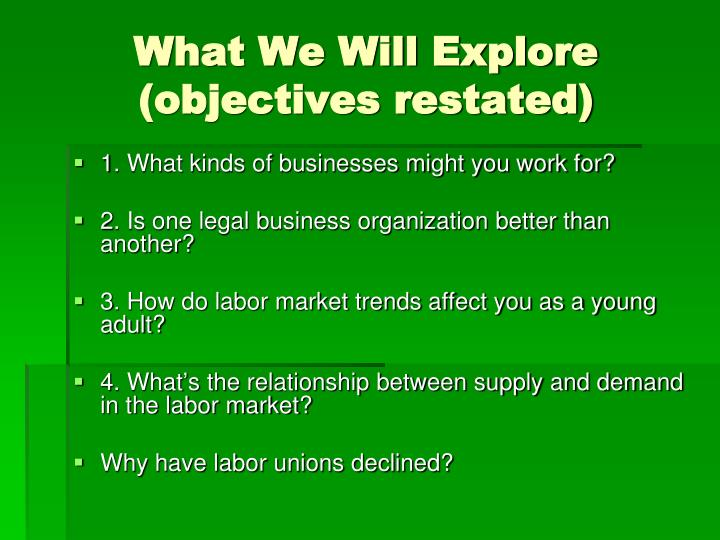What we will explore objectives restated