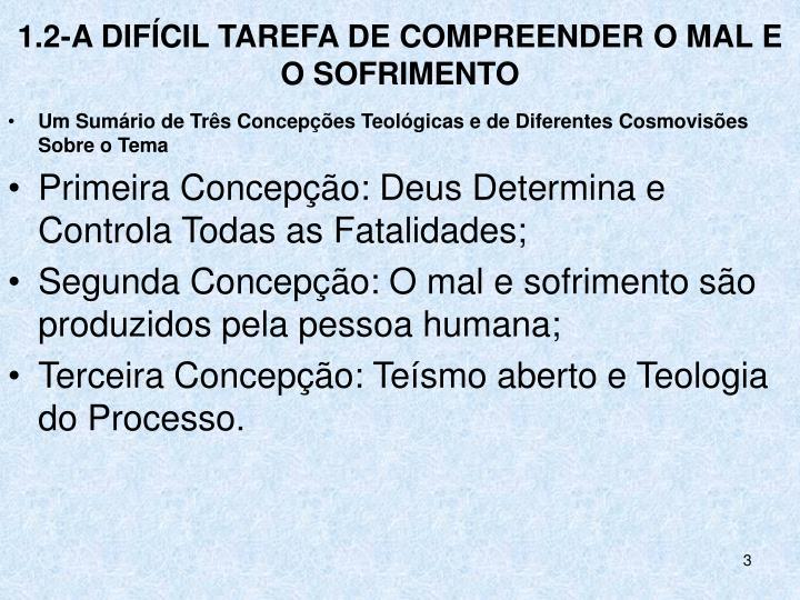 1.2-A DIFÍCIL TAREFA DE COMPREENDER O MAL E O SOFRIMENTO
