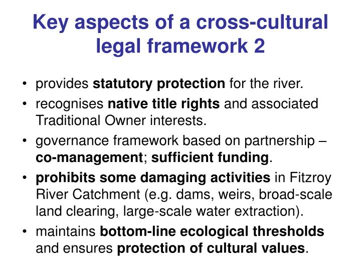 Key aspects of a cross-cultural legal framework 2