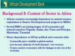 background context of sector in africa