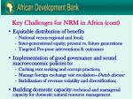 key challenges for nrm in africa cont